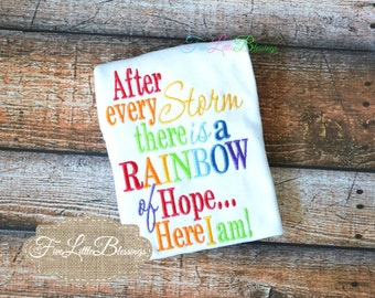 After Every Storm - Rainbow of Hope - Miracle baby - New Baby - Baby shower gift - Twins shirt - Triplets shirt - baby girl shirt