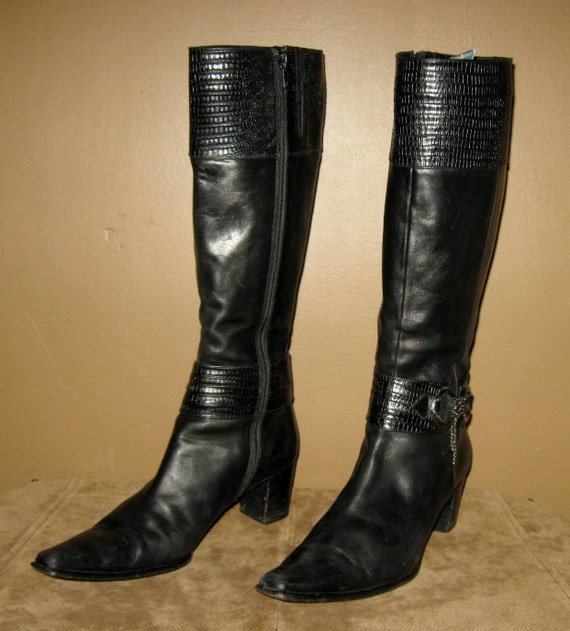 vintage via spiga black leather knee high by
