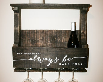 Reclaimed Wood Wine Rack —  May Your Glass Always Be Half Full — Reclaimed Pallet Wood