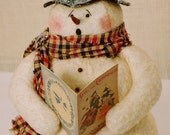 Fabric, Stuffed, Snowman, Holiday Decoration, Winter Decoration, Singing Sam