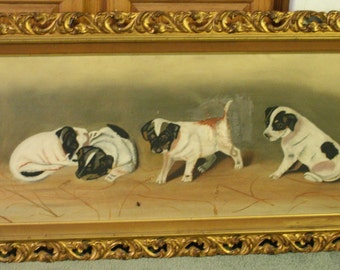 Antique Painting of Puppies or Dogs