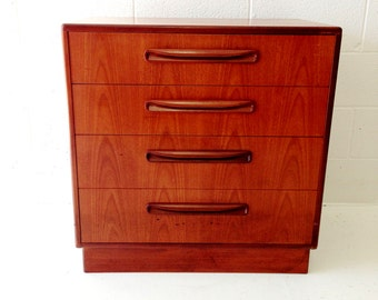mid century modern dresser chest of drawers g-plan fresco in teak with four drawers.