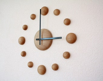 Big wall clock DIY clock Large wall clock Oak wood wall clock 18 inch wall clock Rustic wall clock Living room decor Natural wood clock