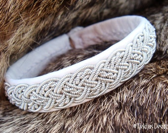 YGGDRASIL Swedish Sami Pewter White Leather Lapland Bracelet