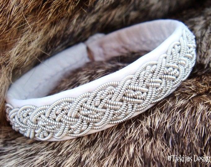 Swedish Sami Pewter Braid White Reindeer Leather Lapland Bracelet YGGDRASIL Arctic Tundra Viking Handcrafted Natural Tribal Elegance