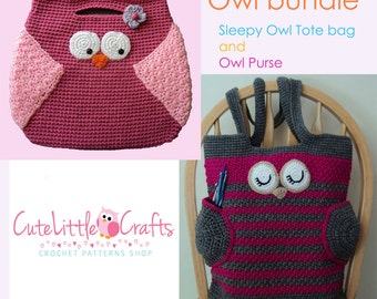 Crochet Patterns: Sleepy Owl Tote Bag and Owl Purse, Pattern Bundle, Instant Download