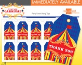 Vintage Carnival Circus Favor Tags - Printable Birthday Party - DIY Print - Primary Colors - Instant Download