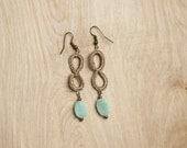 Kachin Earrings (Teardrop Dangles in Metallic Tan with Mint Bead, by Nang)