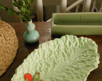 Vintage Carlton Ware Large Lettuce Leaf Dish with Handpainted Tomatoes Made in England