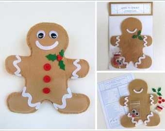 Holiday Learn to Sew Kit for Kids - Gingerbread Man