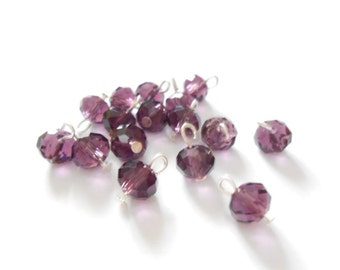 Purple Faceted Rondelle Dangle Beads