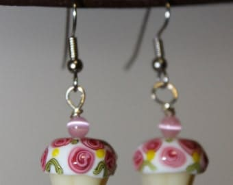 Pink and White Cupcake Earrings
