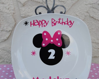Minnie mouse birthday plate PINK