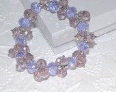 CHRISTMAS SALE Lavendar Crystal Bracelet Hand-Beaded Stretchy Fits All