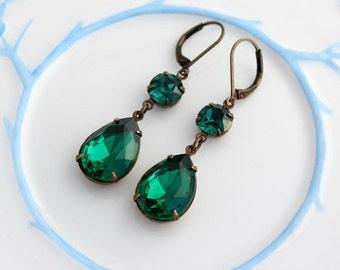 Double Emerald earrings, Emerald earring, emerald green earrings, emerald earrings, Emerald wedding, bridesmaid earrings, wedding jewelry