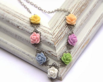 Pastel Bridal Necklace, Bridesmaid gift, Bridal Jewelry, Romantic Jewelry, Shabby Chic Wedding