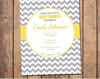 Chevron Baby Shower Invitation Boy Baby Shower Invitation, gender neutral, grey and yellow, digital, printable file (item109)