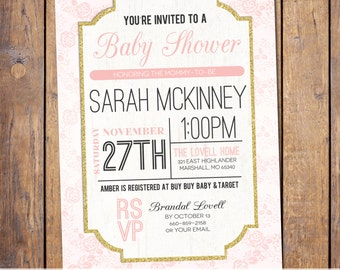 Floral Baby Shower Invitation modern Baby Shower Invitation gender neutral pink and gold baby shower Invites (item346)