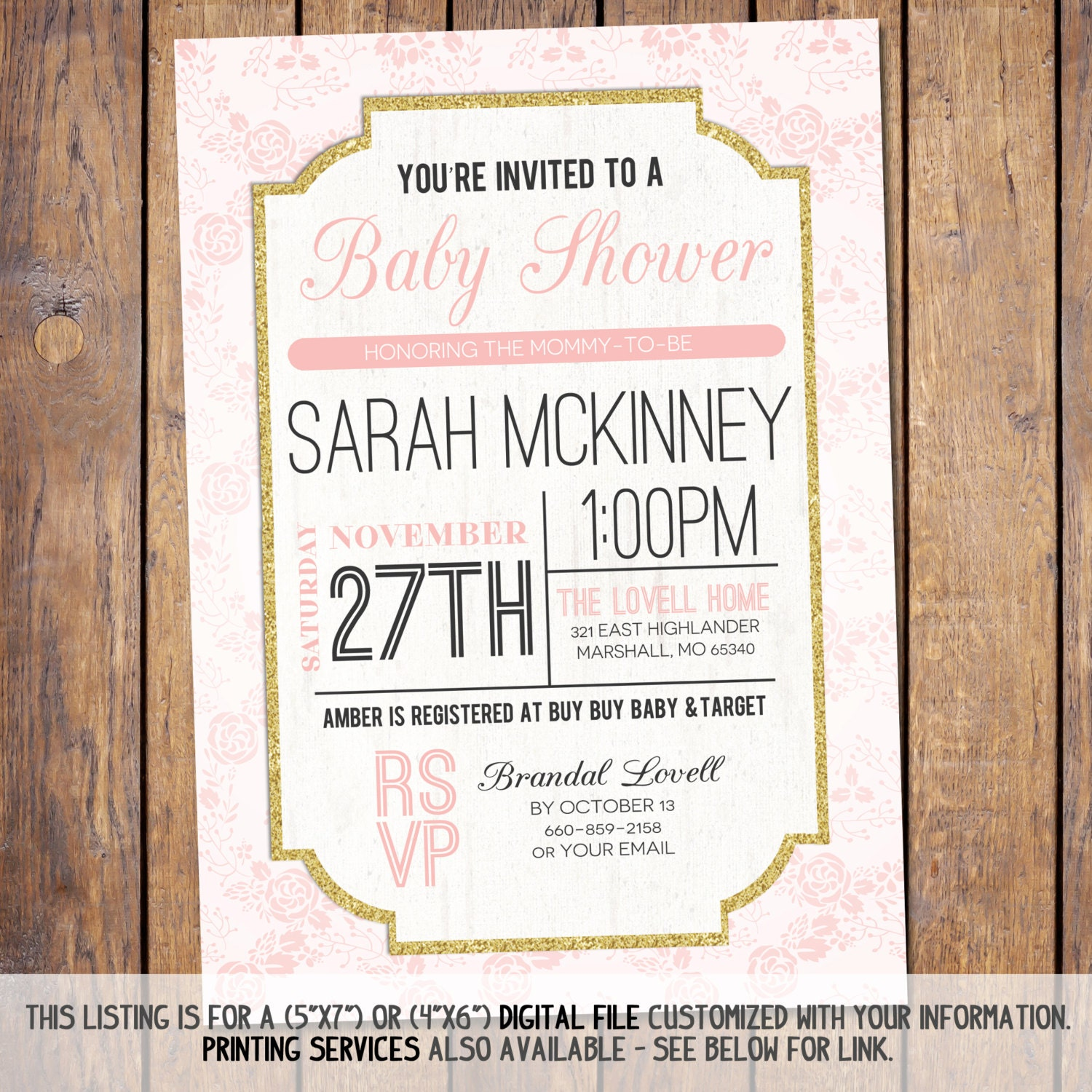 Modern Baby Shower Invitations: Floral Baby Shower Invitation Modern Baby Shower Invitation