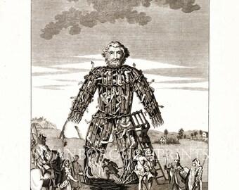 Celtic Druid Illustration of The Wicker Man.  Druid Midsummer Solstice at Stonehenge. Burning Wicker Man Statue at Nature Worship