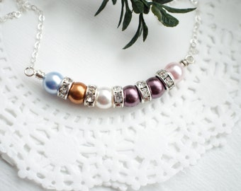 Personalized Birthstone Family Necklace - Sterling Silver Necklace with Pearls