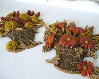 Vintage Autumn Mum Flower Basket Wall Plaque Set - Burwood - 1977 - Retro Fall Decor