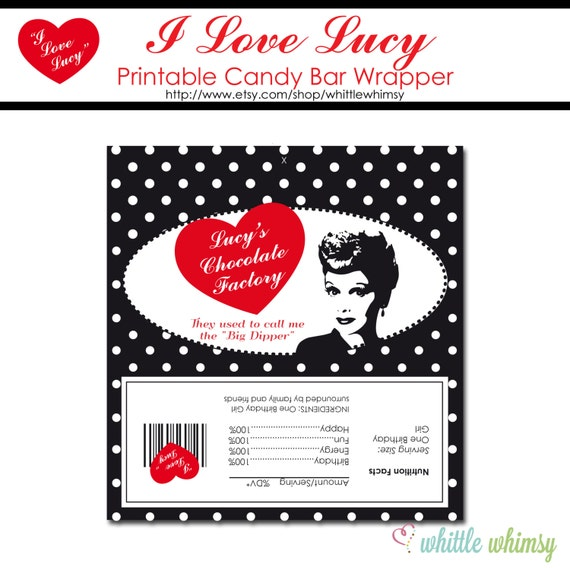 Items Similar To I Love Lucy Candy Bar Wrappers