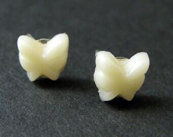 Mini Butterfly Earrings. Ivory Earrings. Ivory Butterfly Earrings. Silver Post Earrings. Stud Earrings. Handmade Jewelry.