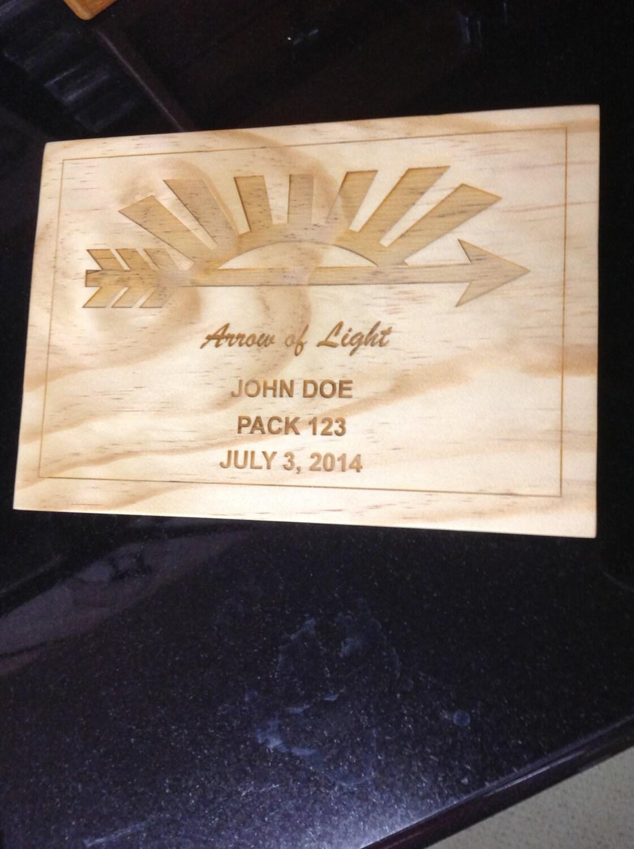 arrow of light scout award plaque 1. Black Bedroom Furniture Sets. Home Design Ideas