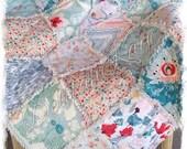 King Rag Quilt - Subtle Joy Rapture Pat Bravo - Aqua Coral  - Handmade Modern Bedding