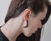 ansuz : Odin viking rune purple heartwood  fathers day fake gauge earrings