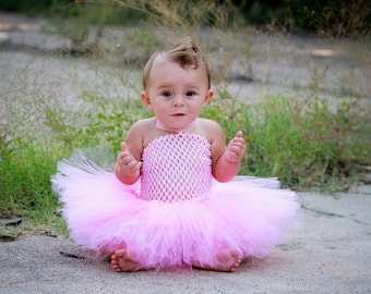 Boutique Baby Girls Tutu Dress Crochet Top Tulle Double Layer Skirt Newborn Infant to 2T Pink