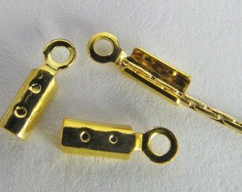 12 Gold-Plated 2mm Fold-Over Looped Crimp Connectors Mt212
