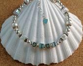 GIGI Swarovski Crystal & Pearl Bracelet - Mama - Mom - Nana - MiMi - Sterling Silver - Swarovski Crystal AB Cube - Any Size - Made in USA