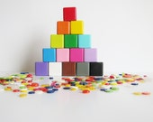 Wooden stacking blocks. Childrens Toy. Colorful. Eco friendly. Building blocks. Waldorf style. Set of 15. Rainbow nursery decor.