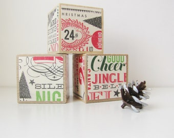 Christmas decor. Red and green. Wood Blocks. Large Baby Blocks. Shelf Sitter. children. ready to ship