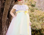 Girls Country Chic Flower Girl Tutu Dress, Denim Lace and Tulle