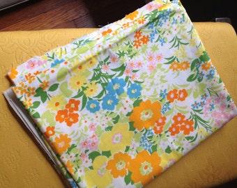 Vintage Filkauf Fabric Remnant Floral Wonderful