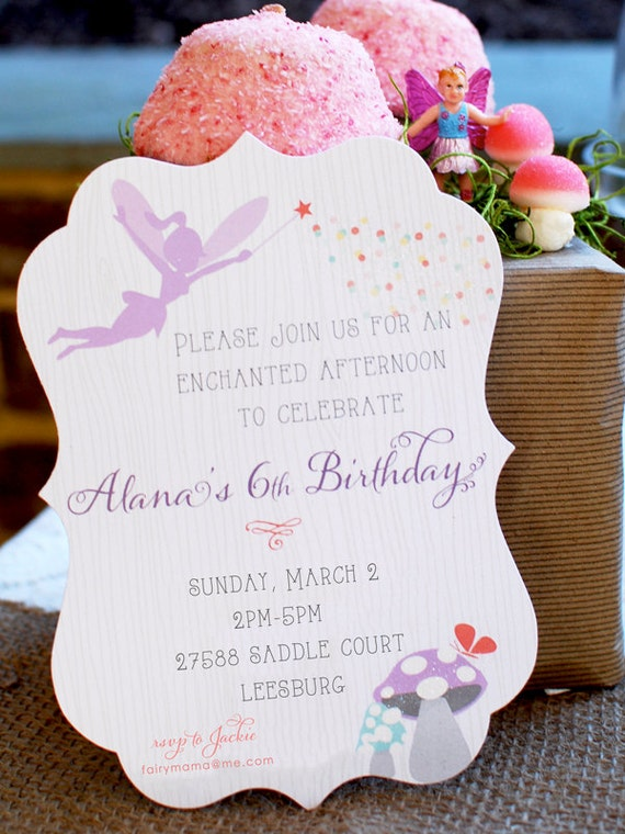 25 WOODLAND FAIRY Invitations, PRINTED Invitations, Flourish Die cut, Libby Lane Press, As Seen on Hostess with the Mostess