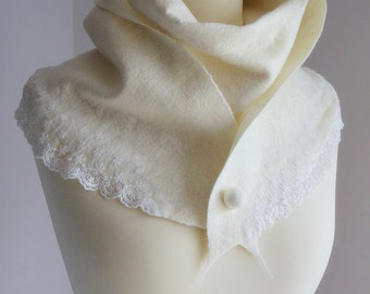 Edith. Made-to-order ivory wet felted scarf with lace, one-of-a-kind  hand felted garment