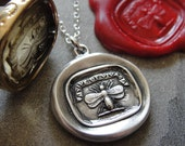 Wax Seal Necklace Bee - Latin motto Vive Ut Vivas - Live Life To The Fullest - antique wax seal charm jewelry