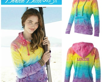Monogram Rainbow Tie Dye Hoodie Pullover Jacket Sizes Small, Medium, Large, XL, 2XL Personalized Beach Wear Under 50 Dollars