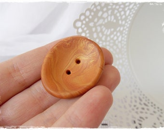 Caramel Clay Button, Clay Oversized Button, Extra Large Button, Handmade Polymer Clay Button, Very Big Brown Button, Gold Copper Button