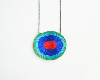 Colorful spiral necklace, geometric necklace, minimalist necklace, multicolor necklace, satin cord necklace, summer trends, gift for her