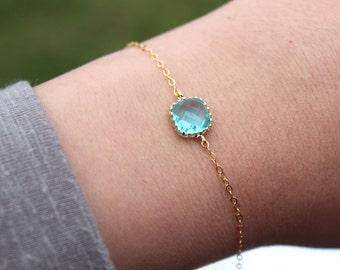 Dainty Blue Aquamarine Bracelet Square Gold Plated Aqua Topaz Bracelet Bridesmaid Bracelet - Bridal Bracelet Something Blue Wedding Jewelry