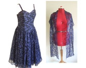 80s black and blue lace prom dress with shawl and built in net underskirt UK 14 B38""