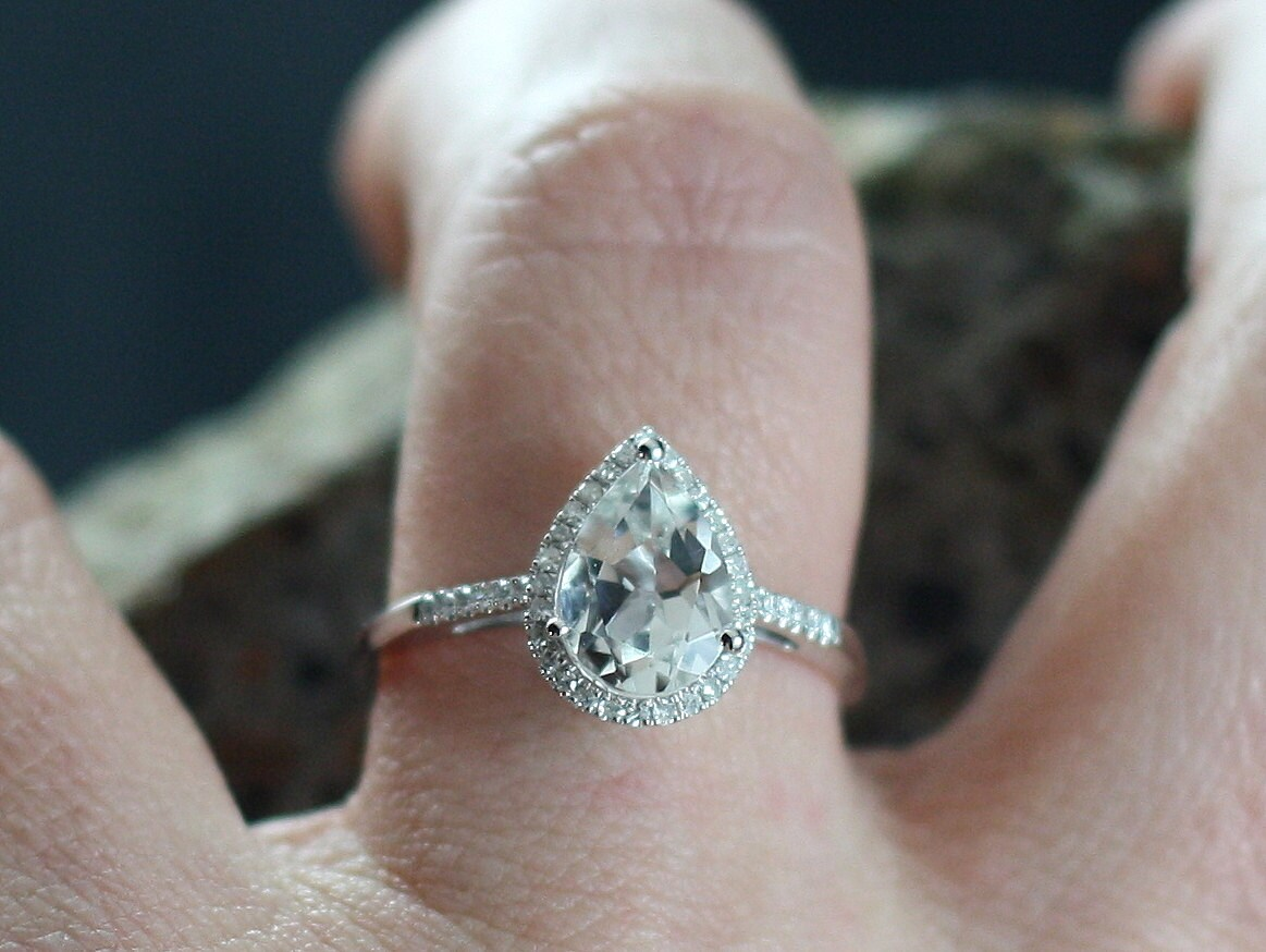 white sapphire engagement ring pear halo drop cut