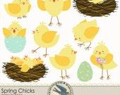 "Digital Clip art Pack Instant Download - ""Spring Chicks"" - Great for Spring, Easter, babies, for scrapbooks, cards, invitations"