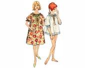 1960s Baby Doll Nightie Pattern Simplicity 4288 2 Lengths Muu Muu Gathered Neckline Sizes 12 or 14