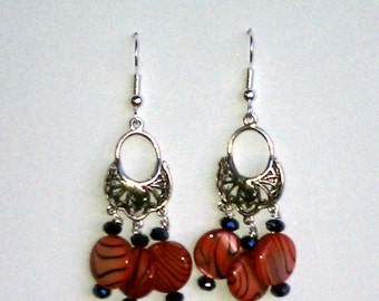 "Handmade  2""  Brick Red Shell CHANDELIER EARRINGS  Elegant with Faceted Black Accents  Silver Wires"
